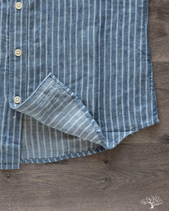 Blue Heavy Linen Stripe Short-Sleeve Shirt