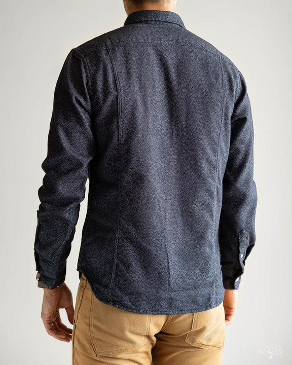 Flecked Navy Flannel Long-Sleeve Shirt