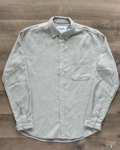 Heathered Herringbone Grey Long-Sleeve Shirt