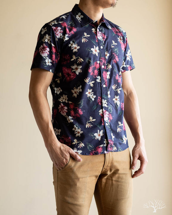 Navy Hawaiian Short-Sleeve Shirt