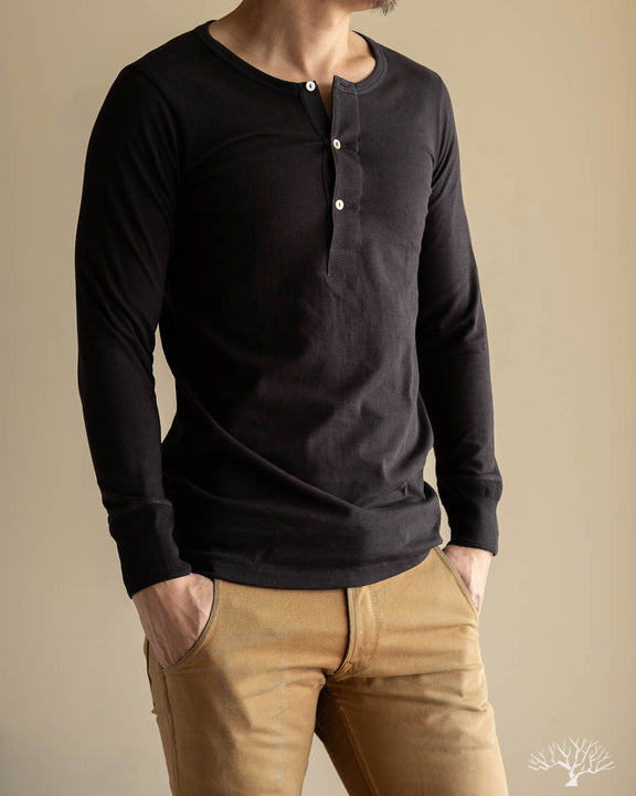 Organic Cotton Henley Long Sleeve (206) - Charcoal