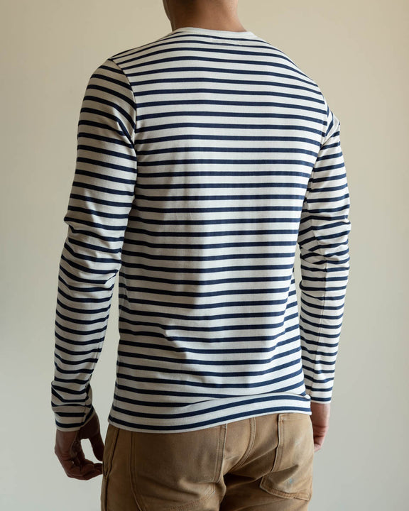 2M12 Crew Neck Striped Long Sleeve Tee - Ink/Nature