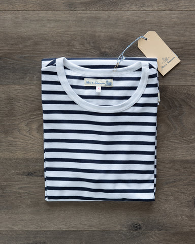 Merz b. Schwanen 2M15 Crew Neck Striped Tee - Ink/White