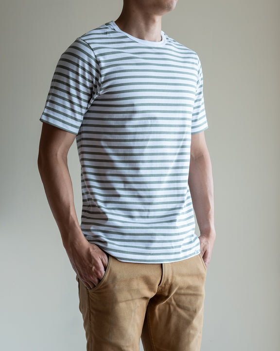 2M15 Crew Neck Striped Tee - White/Light Army