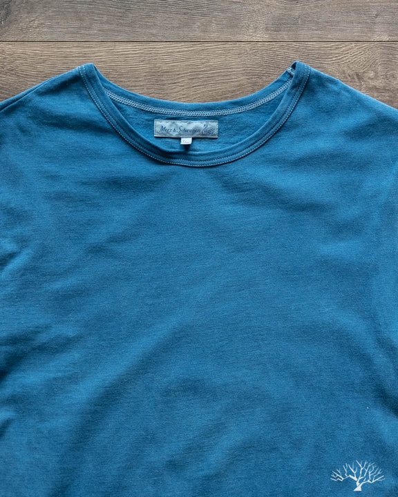 1950s Organic Cotton Crew Neck Tee - Natural Indigo