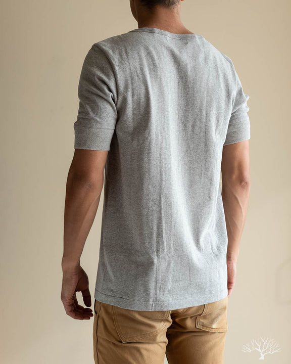 207 Organic Cotton Henley Short Sleeve - Grey Melange