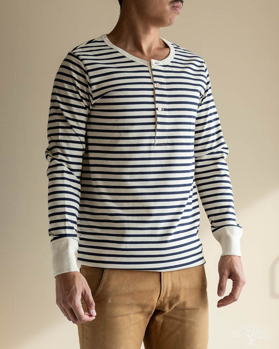 2M06 Striped Henley Long Sleeve - Ink/Nature