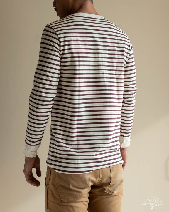 2M06 Striped Henley Long Sleeve - Red Oak/Nature