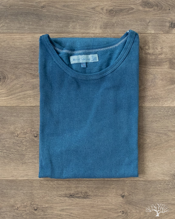 Merz 215 Crew Neck Tee in Natural Dark Indigo