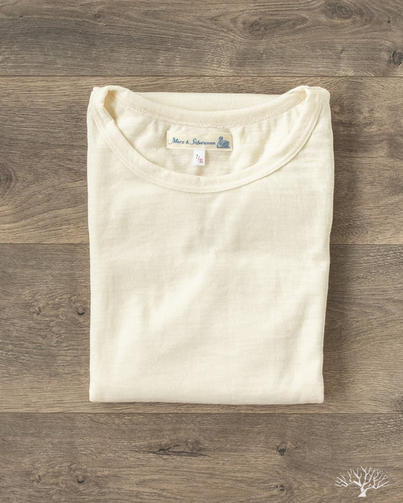Merz 2W15 Merino Wool Crew Neck Tee in Nature