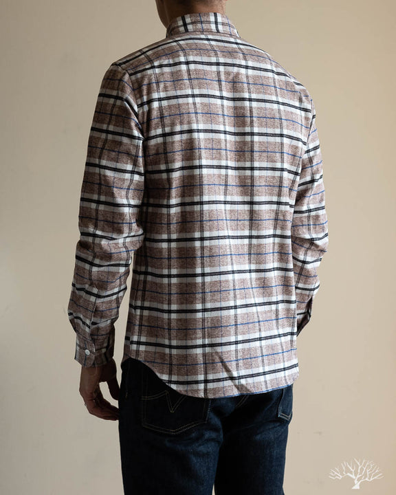 Camel Plaid Flannel Shirt