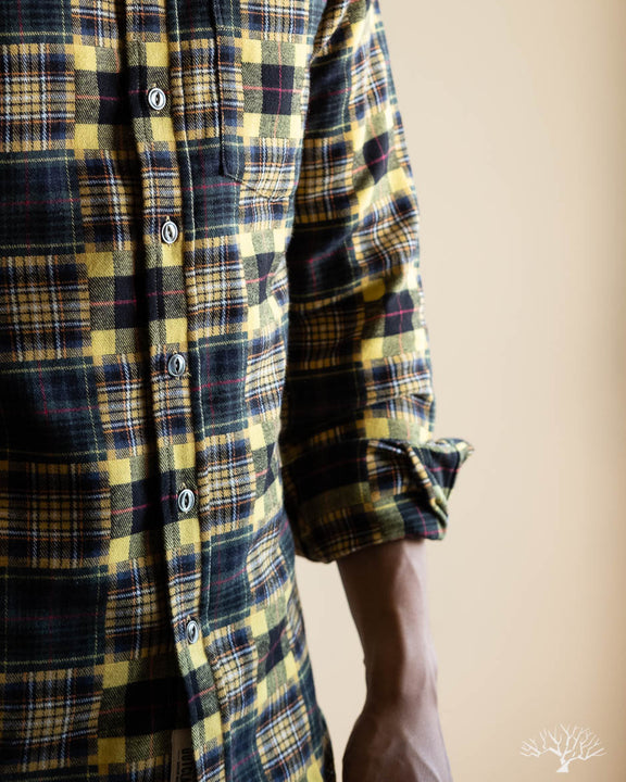 Yellow Patchwork Blanket Flannel Shirt