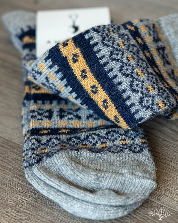 Fair Isle Merino Wool/Cashmere Socks - Grey/Navy