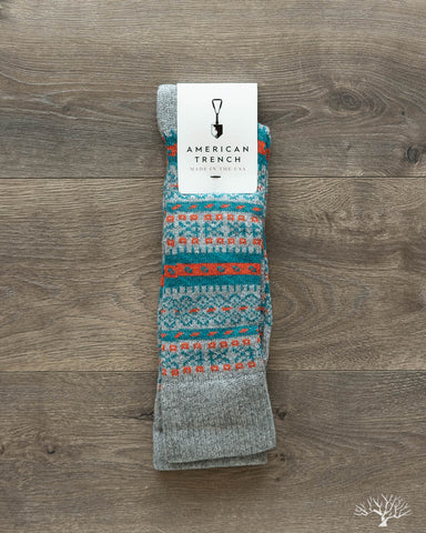 Fair Isle Merino Wool/Cashmere Socks - Grey/Teal
