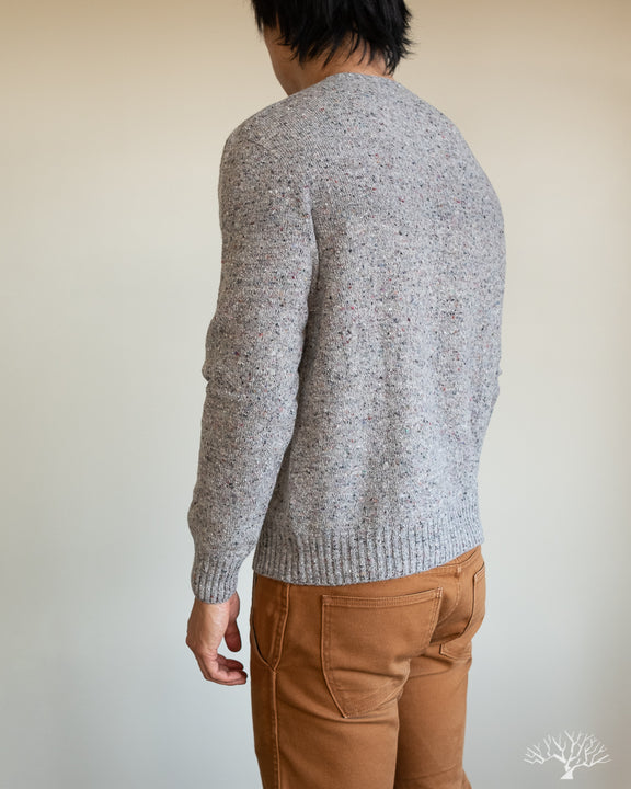 American Trench Merino Wool Cashmere Donegal Sweater in Ash