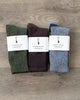 American Trench Recycled Marl Socks Three-Pack (Moss, Mocha, and Navy)