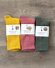 American Trench Silver Crew Socks Three-Pack (Dusty Rose, Vintage Green, Gold)