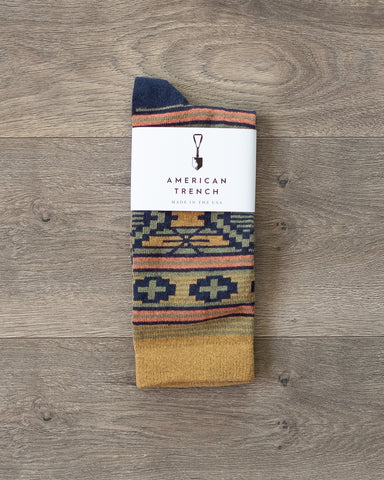 American Trench Southwest Diamond Socks Ochre