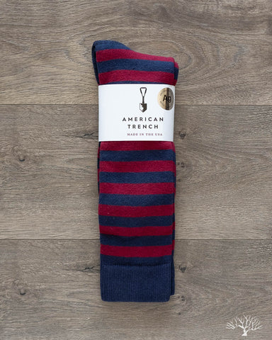 Silver Rugby Stripe Socks - Navy/Wine