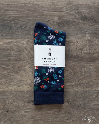 Floral Pattern Supima Cotton - Navy