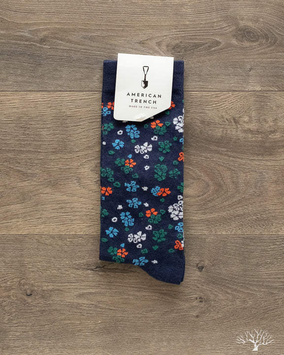 Floral Pattern Supima Cotton Socks - Navy