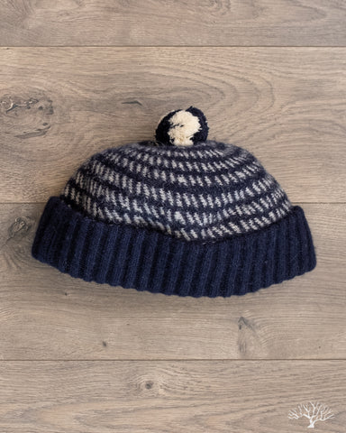 Baby Alpaca Pom Watch Cap - Navy