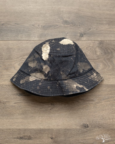 Bleached Herringbone Bucket Hat - Black