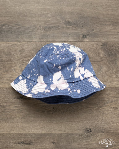 Bleached Herringbone Bucket Hat - Blue