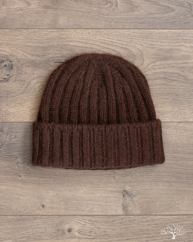 Cashmere 2x2 Rib Watch Cap - Brown