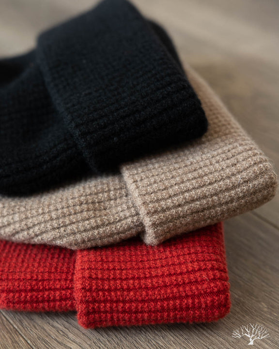 Cashmere Waffle Watch Cap - Black