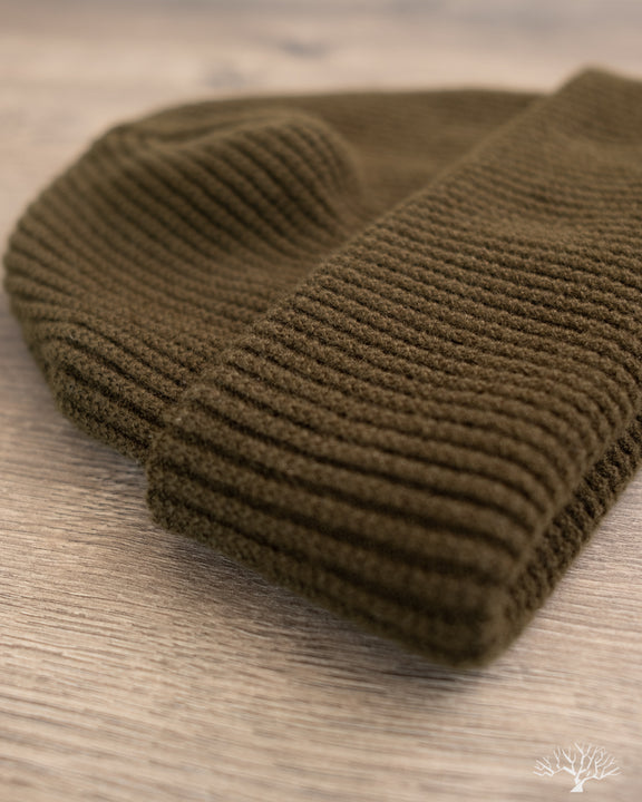 Cashmere Waffle Watch Cap - Olive