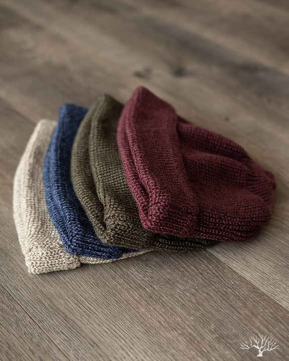 Cotton/Linen Short Watch Cap - Burgundy