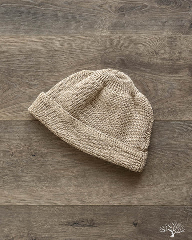 Cotton/Linen Short Watch Cap - Beige