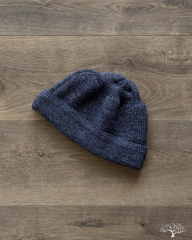 Cotton/Linen Short Watch Cap - Navy