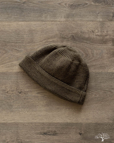 Cotton/Linen Short Watch Cap - Olive