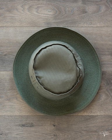Army Herringbone Pork Pie Hat - Olive