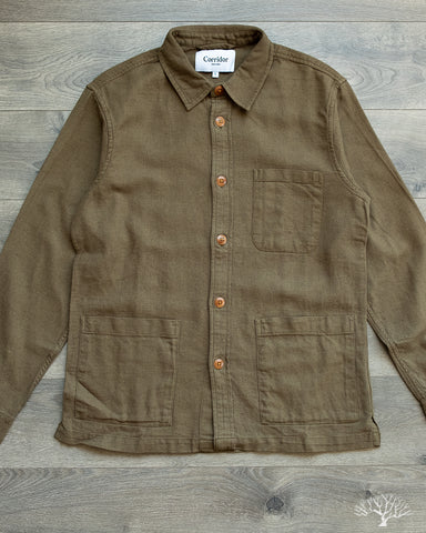 Open Weave Overshirt - Olive