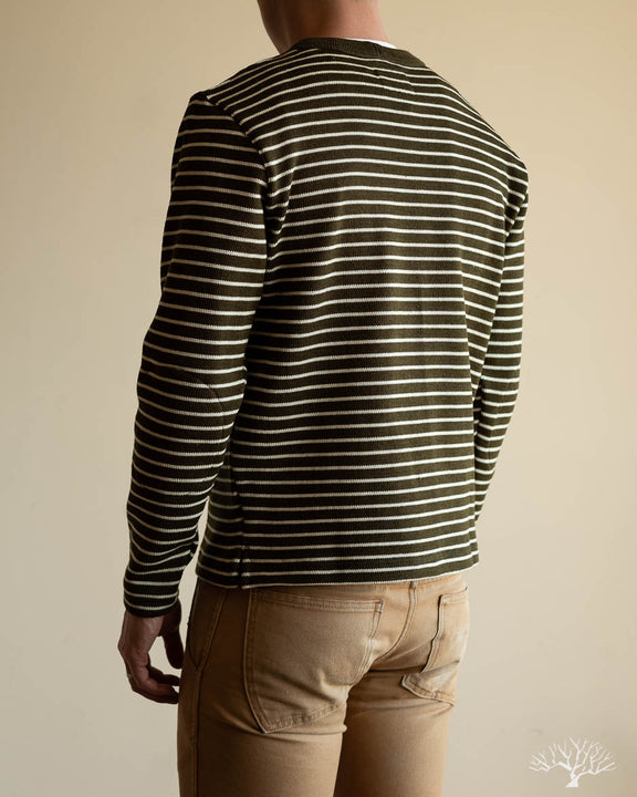 Micro Stripe Crew Neck Sweater - Loden/Off-White