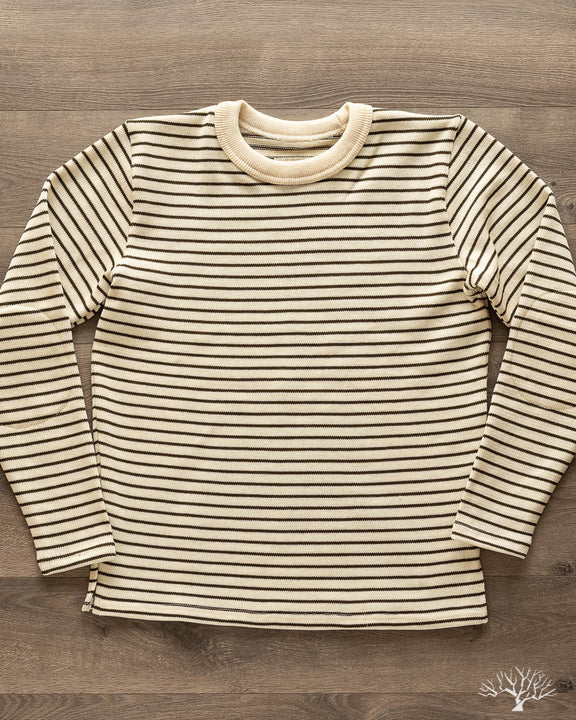 Micro Stripe Crew Neck Sweater - Off-White/Loden