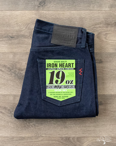 Iron Heart IH-555S-19ib - 19oz Indigo/Black Selvedge Super Slim Denim