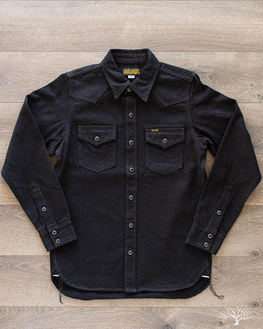 IHSH-218 12oz Black Selvedge Denim Western Shirt