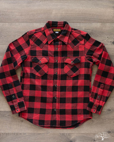 IHSH-232-RED Ultra Heavy Flannel Western Shirt - Red/Black