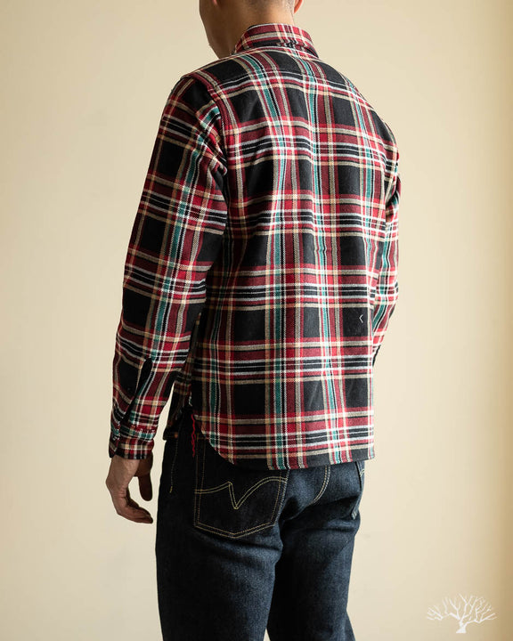 IHSH-238-BLK - Ultra Heavy Flannel Work Shirt - Black Crazy Check