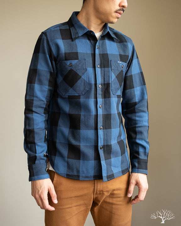 Iron Heart IHSH-251-IND Indigo Check Work Shirt Size Large Model Photos