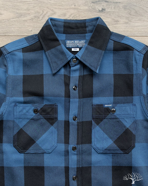 Iron Heart IHSH-251-IND Indigo Check Work Shirt Spring Summer 2020