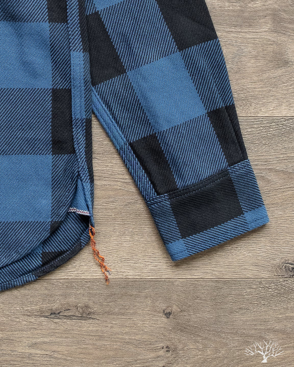 Iron Heart IHSH-251-IND Indigo Check Work Shirt Chainstitch Runoff and Selvedge