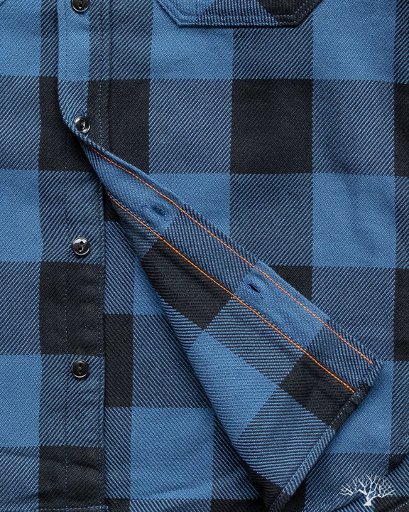 Iron Heart IHSH-251-IND Indigo Check Work Shirt Orange Bobbin Thread