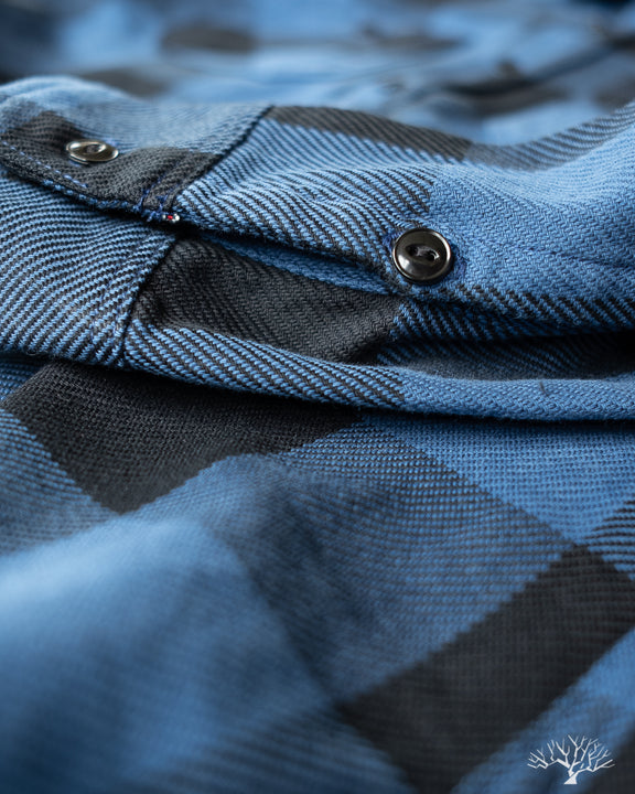 Iron Heart IHSH-251-IND Indigo Check Work Shirt Black Cat's Eye Buttons