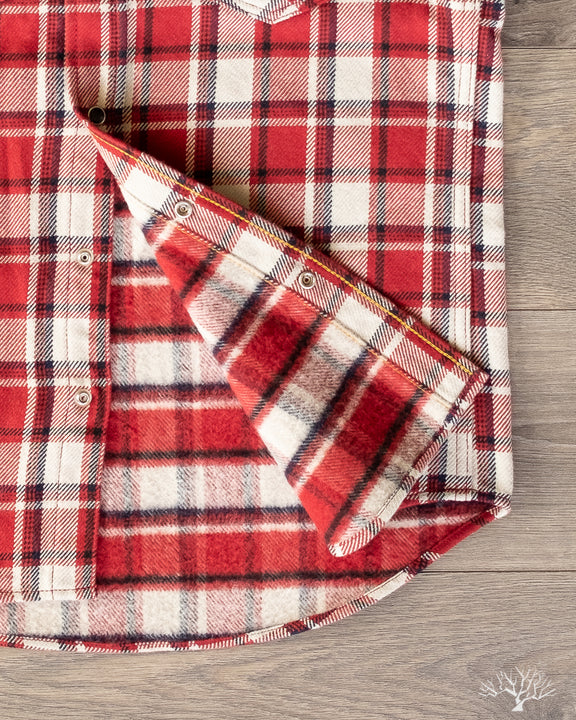 Iron Heart IHSH-259-RED UHF Flannel Red Small Block Check Western Shirt