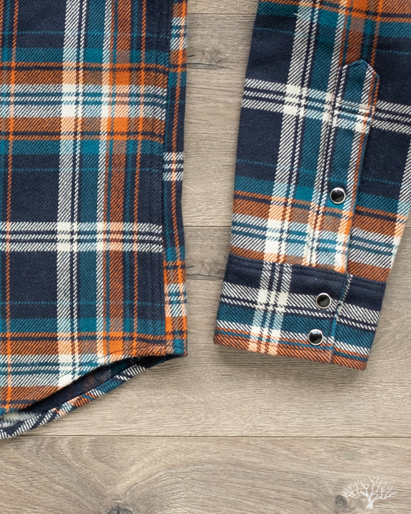 Iron Heart Ultra Heavy Flannel Crazy Check IHSH-262-NAV